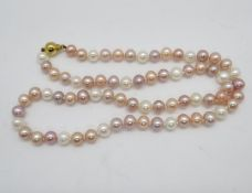 """Pink mauve and white cultured pearl necklace 9ct gold clasp 18"""" long"""