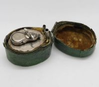 Chagrin 18thC silver lock top travel inkwell with four part pen in silver French HM and HM gold nib