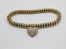 HM 9ct gold on silver bracelet with heart appendage 24g