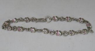 "Mexican silver bracelet set with Rose quartz beads7.25"" 8.5g"