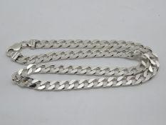 """Silver HM curb link chain 20"""" 64g"""