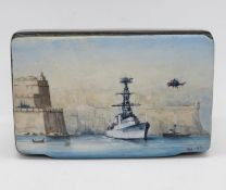 Papier Mache snuff box with later painting on front of Battleship