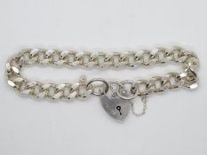 "Solid silver bracelet with lock and chain London 1979 7.5"" 37g"