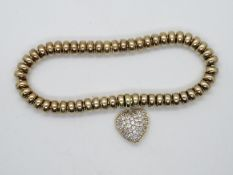 HM 9ct gold on silver sweetie style bracelet with heart appendage 24g