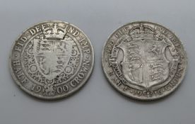 2x half crowns 1900 and 1916