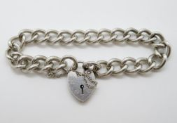 "lver bracelet with lock and chain London 1968 HM 8.5"" 48g"