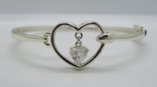 HM silver heart bangle with heart shaped CZ 9.6g