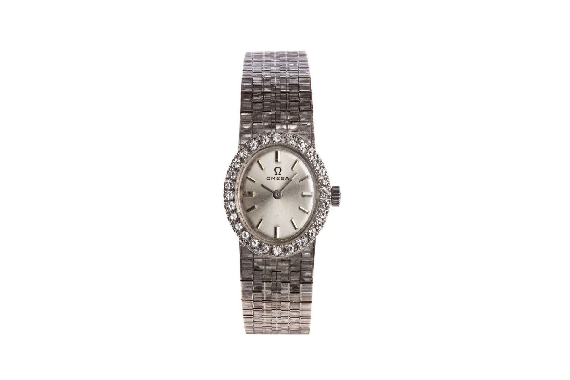 Los 86 - Omega whitegold ladies watch18kt white gold ladies' watch handwinding from the 70s with daimond