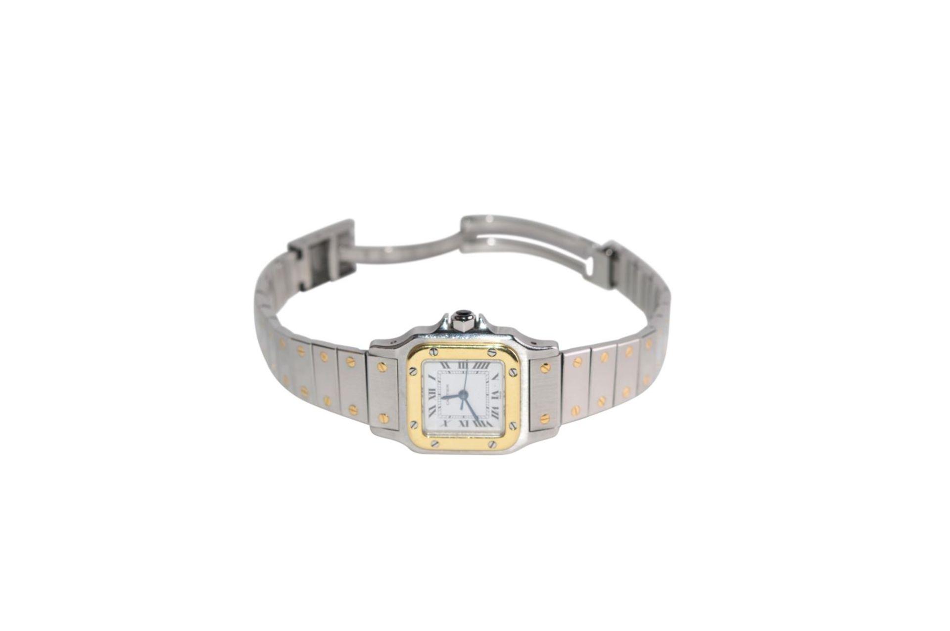 Los 8 - CARTIER SantosLadys wristwatch model Santos steel-gold automatic watch, sapphire crownCARTIER