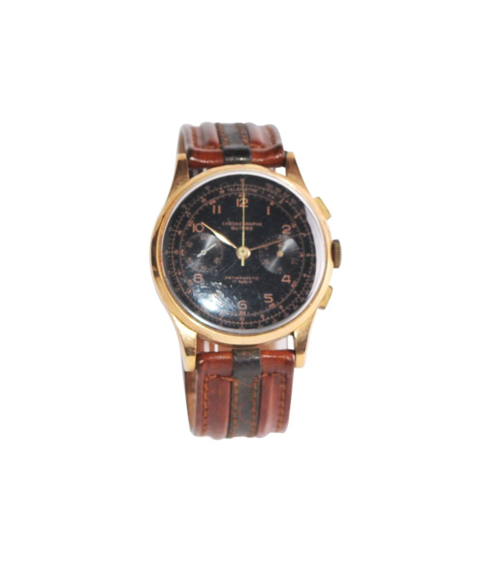 Los 18 - Chronogrape SuisseBeautiful 38 mm rose gold watch with Chronograph Suisse on leather