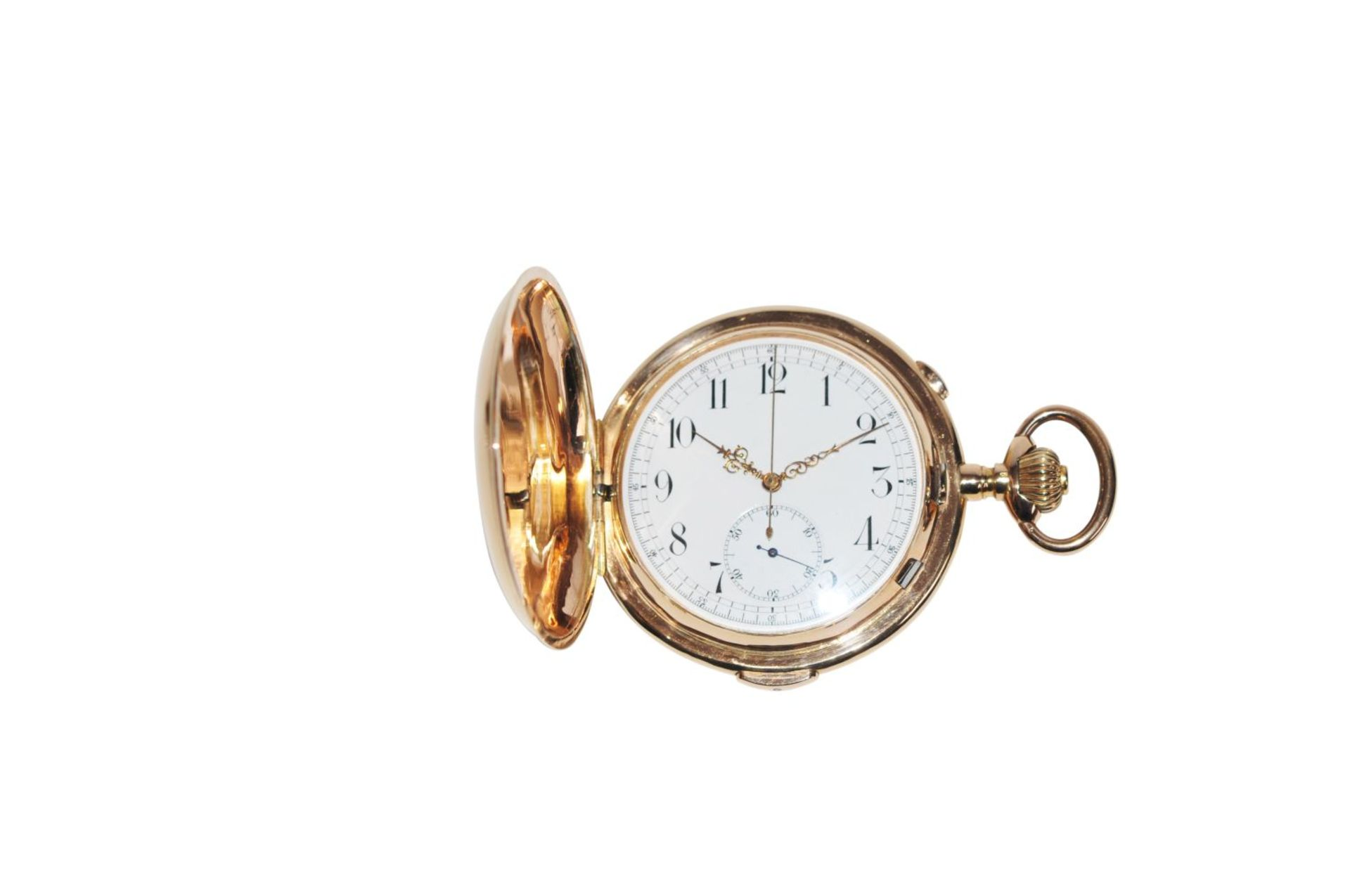 Los 82 - Quarter hour repeater pocket watch with chronographGold pocket watch with spring cover as well as