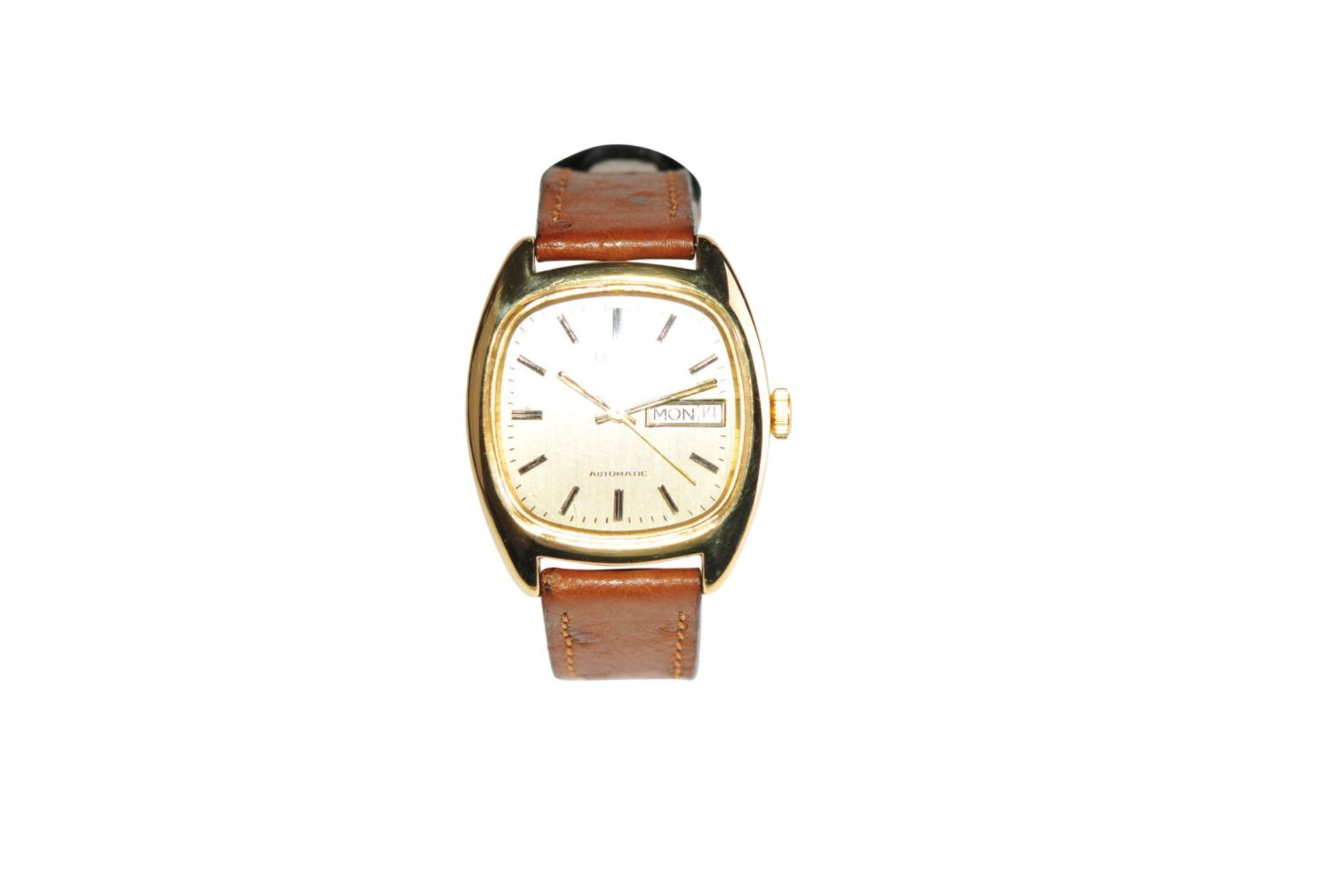Los 41 - BULOVASwiss gold watch 41 mm x 34 mm 18 Kt solid case automatic day date with leather strap