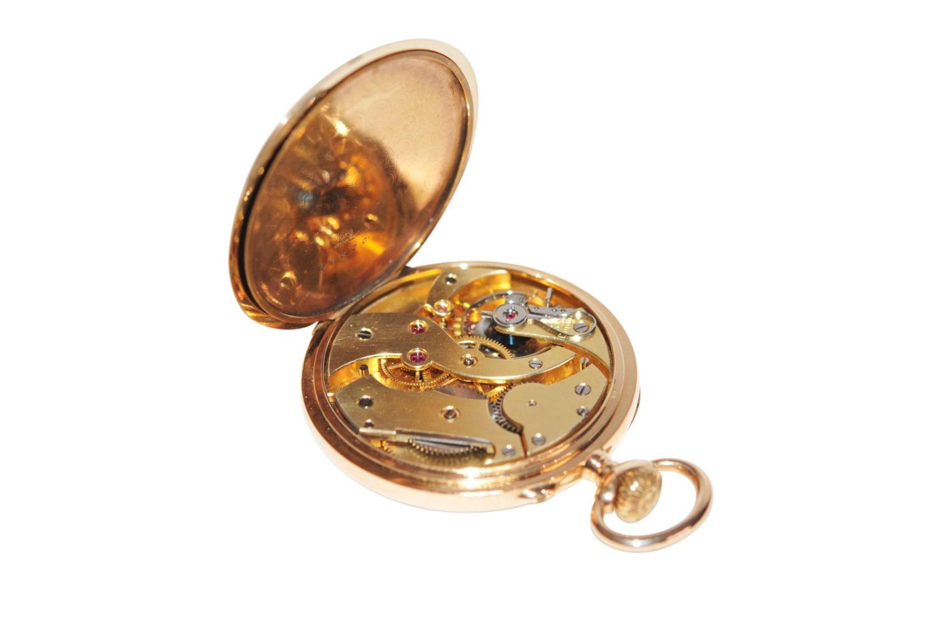 Los 81 - Axel Hüning14K gold Lepine pocket watch from the master Alex Hüning ca 1890, fine Swiss bridge