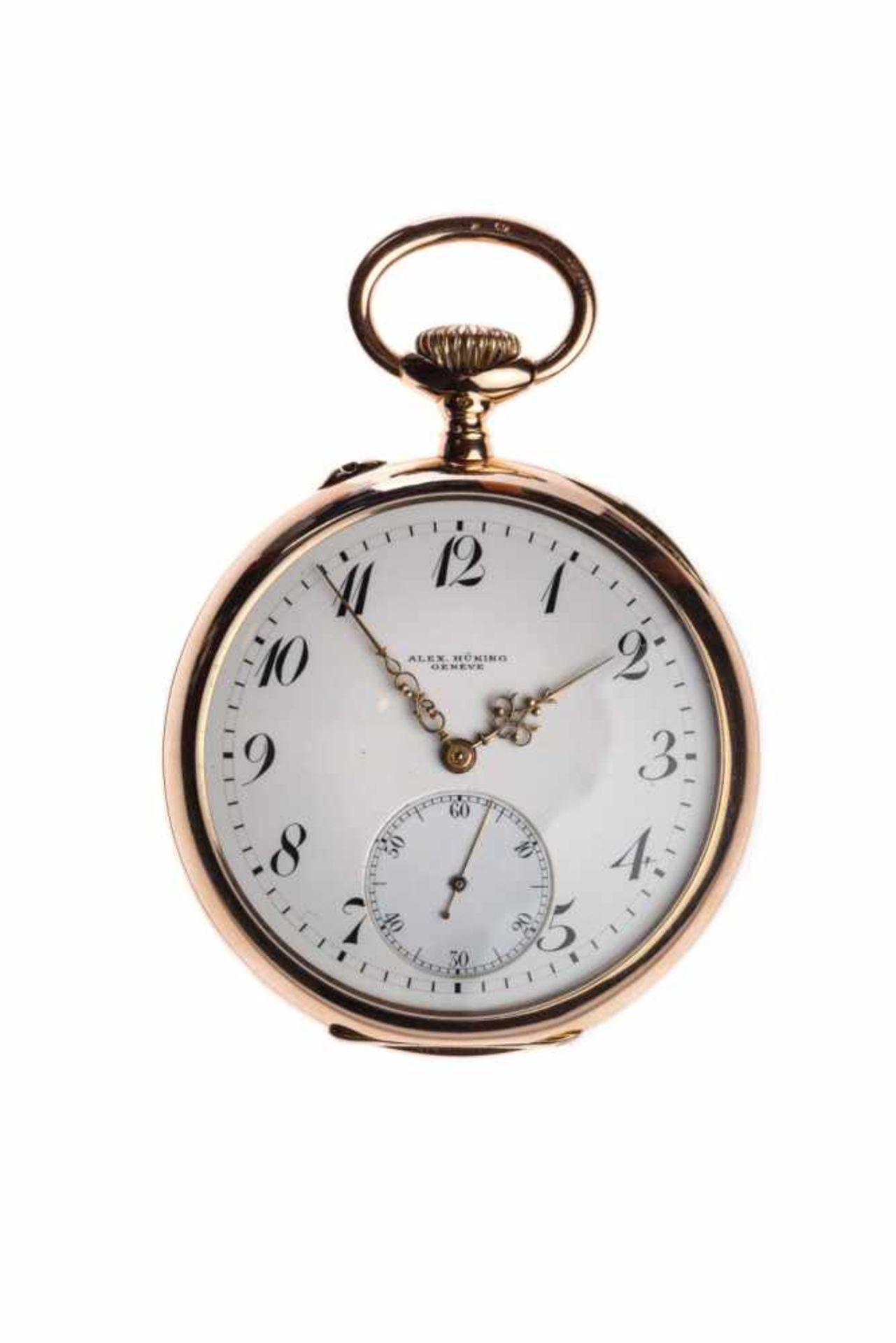 Los 80 - Axel Hüning14K gold Lepine pocket watch from the master Alex Hüning ca 1890, fine Swiss bridge