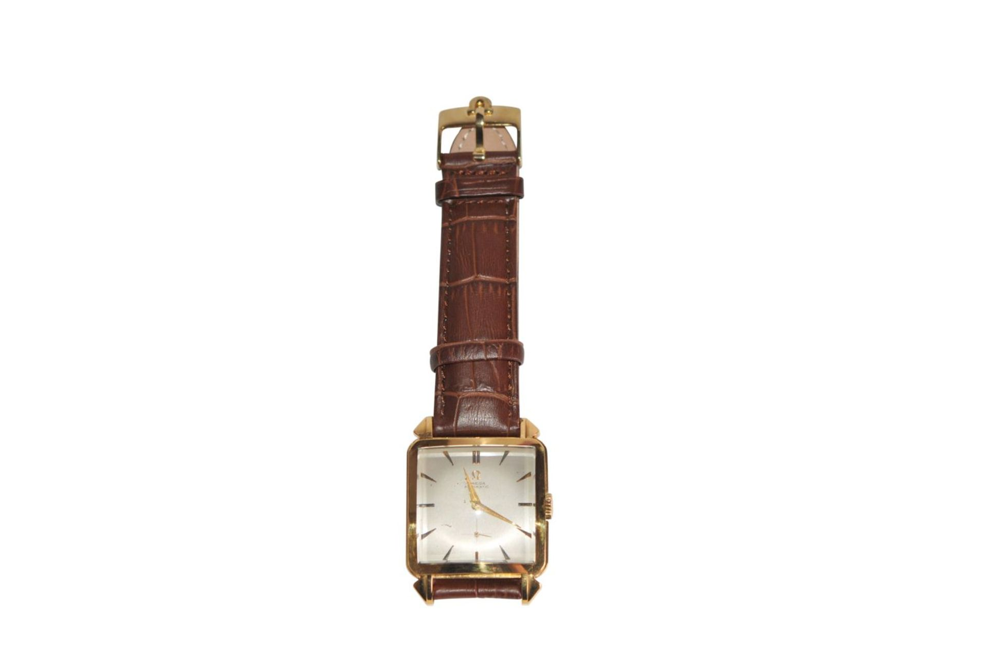 Los 29 - Omega Regtangular Vitage18 Kt Omega men's watch with leather strap automatic caliber 342 with hammer