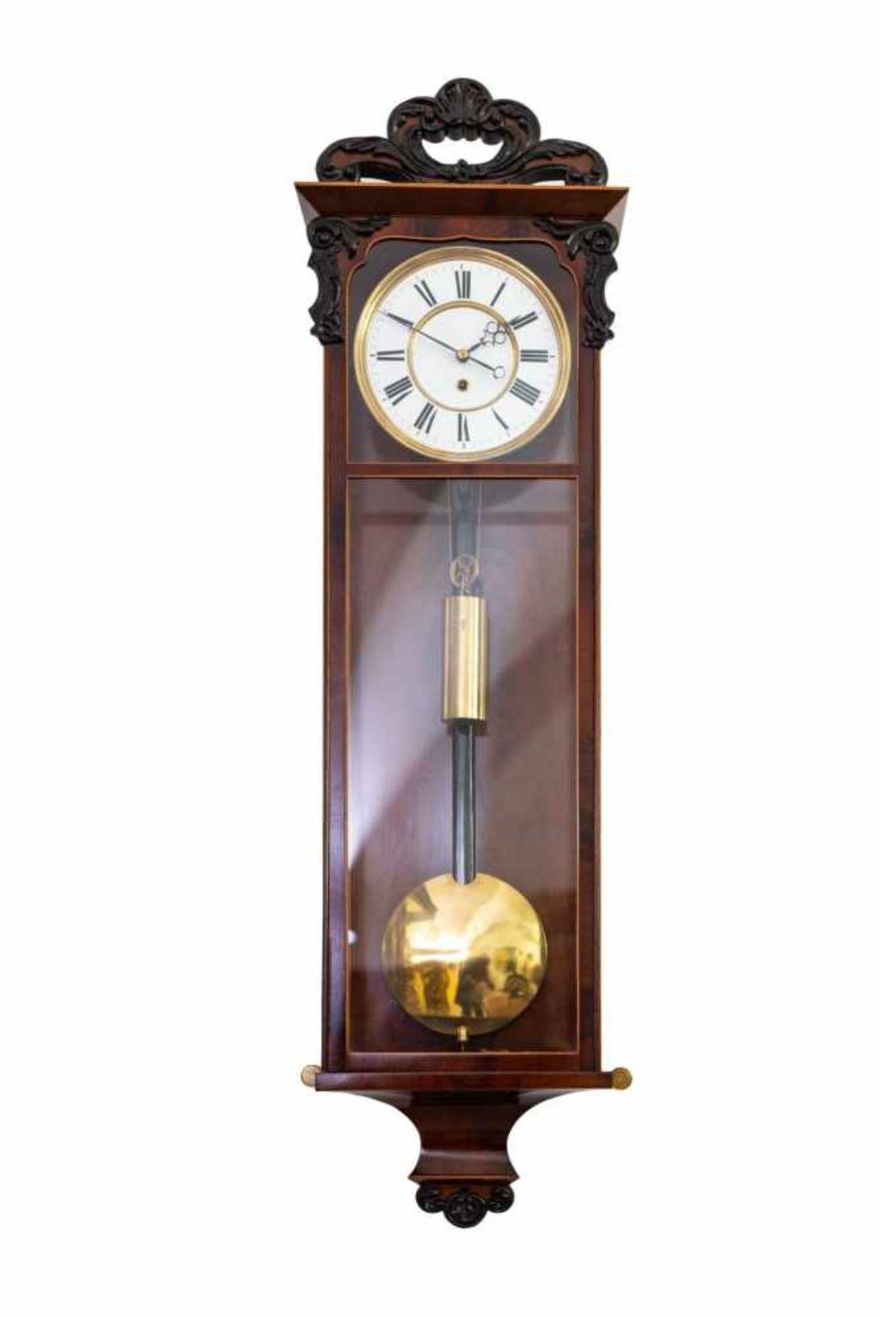 Los 72 - Vienna WallclockViennese wall clock ca 1890 with enamel dial, duration of a weekWiener WanduhrWiener
