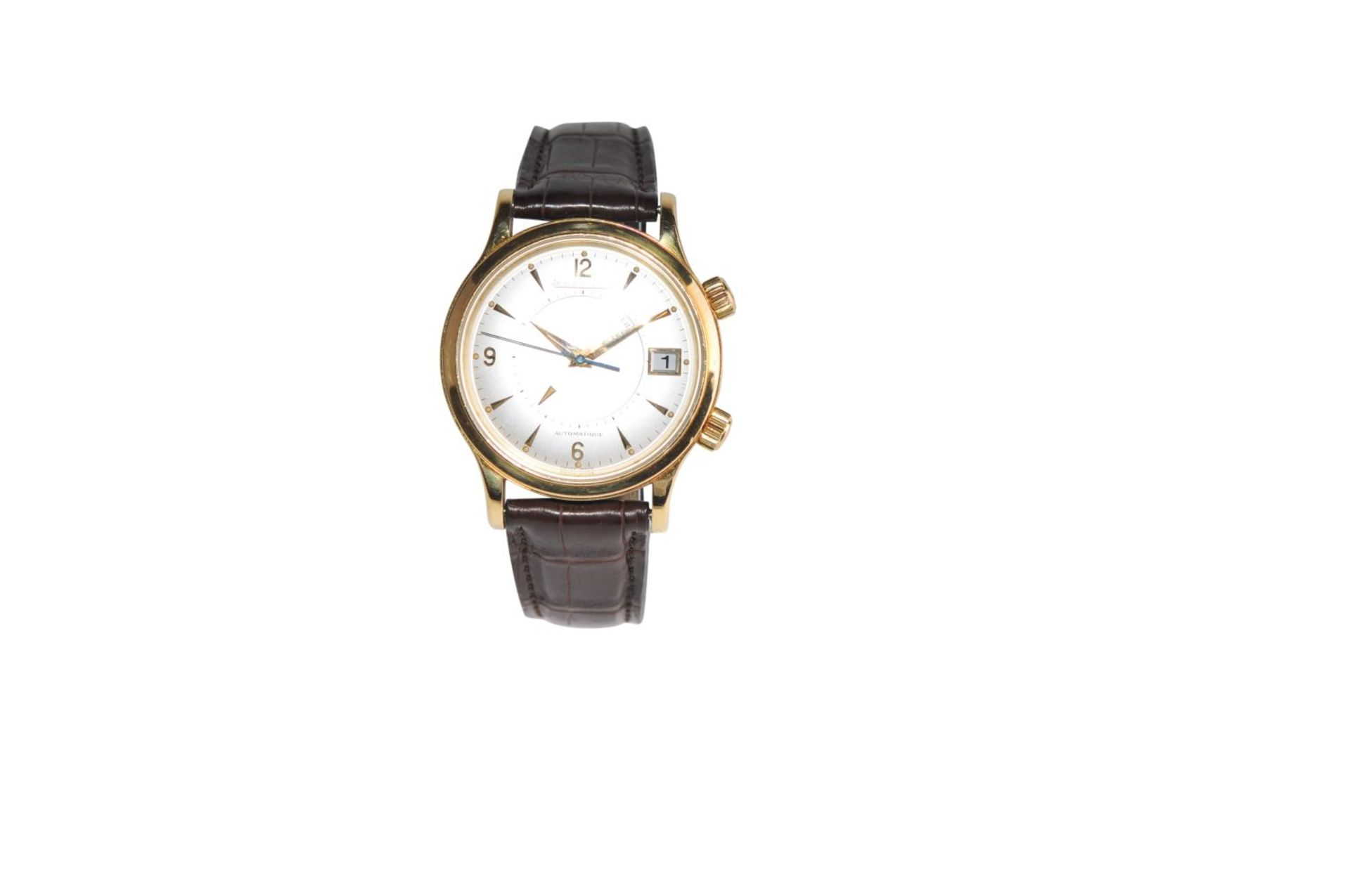 Los 5 - JAEGER LE-COULTRE Reveil18 kt yellow gold watch with alarm clock with box without papers with