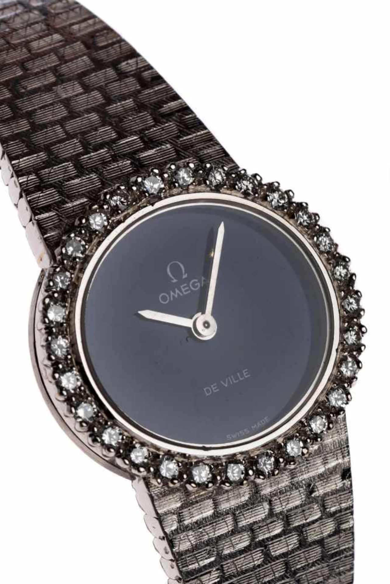 Los 87 - Omega De Ville18kt white gold jewelery watch from Omega with Lapislauzulis stone dial 43 grams