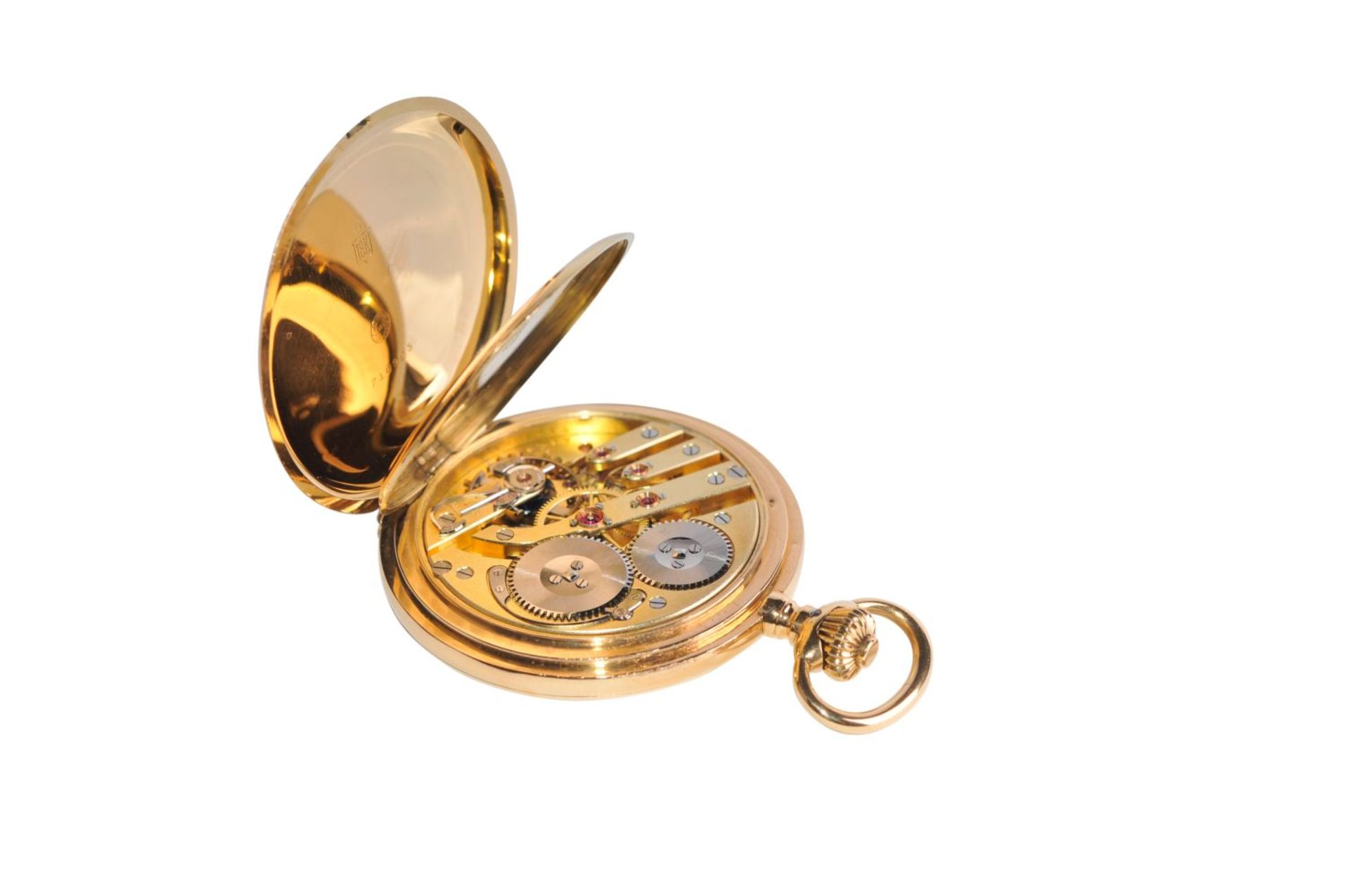 Los 77 - International WatchHeavy massive pocket watch with double Case engraved with AE gold-plated dial,