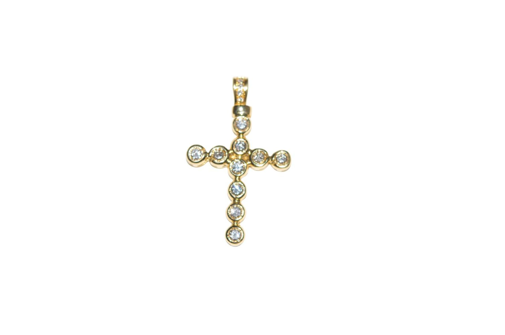 Los 98 - Diamond cross pendantGolden cross pendant, 18kt, with diamonds, approx. 1.07ct, total weight