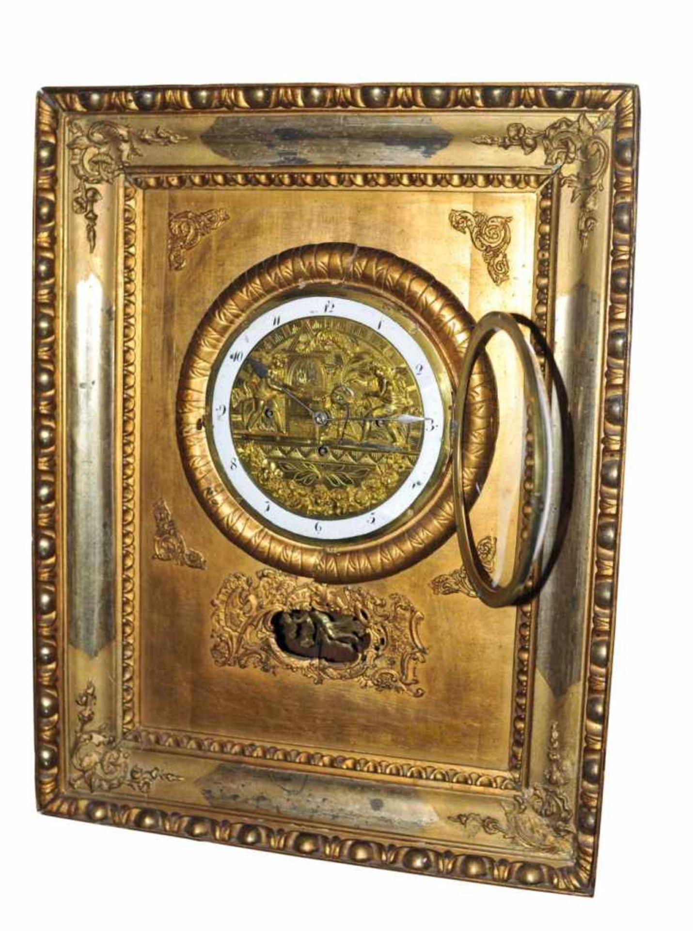 Los 73 - Vienna Frame clockgold-plated frame clock with iron smith & iron grinder 4/4 hour striking on 2 gong