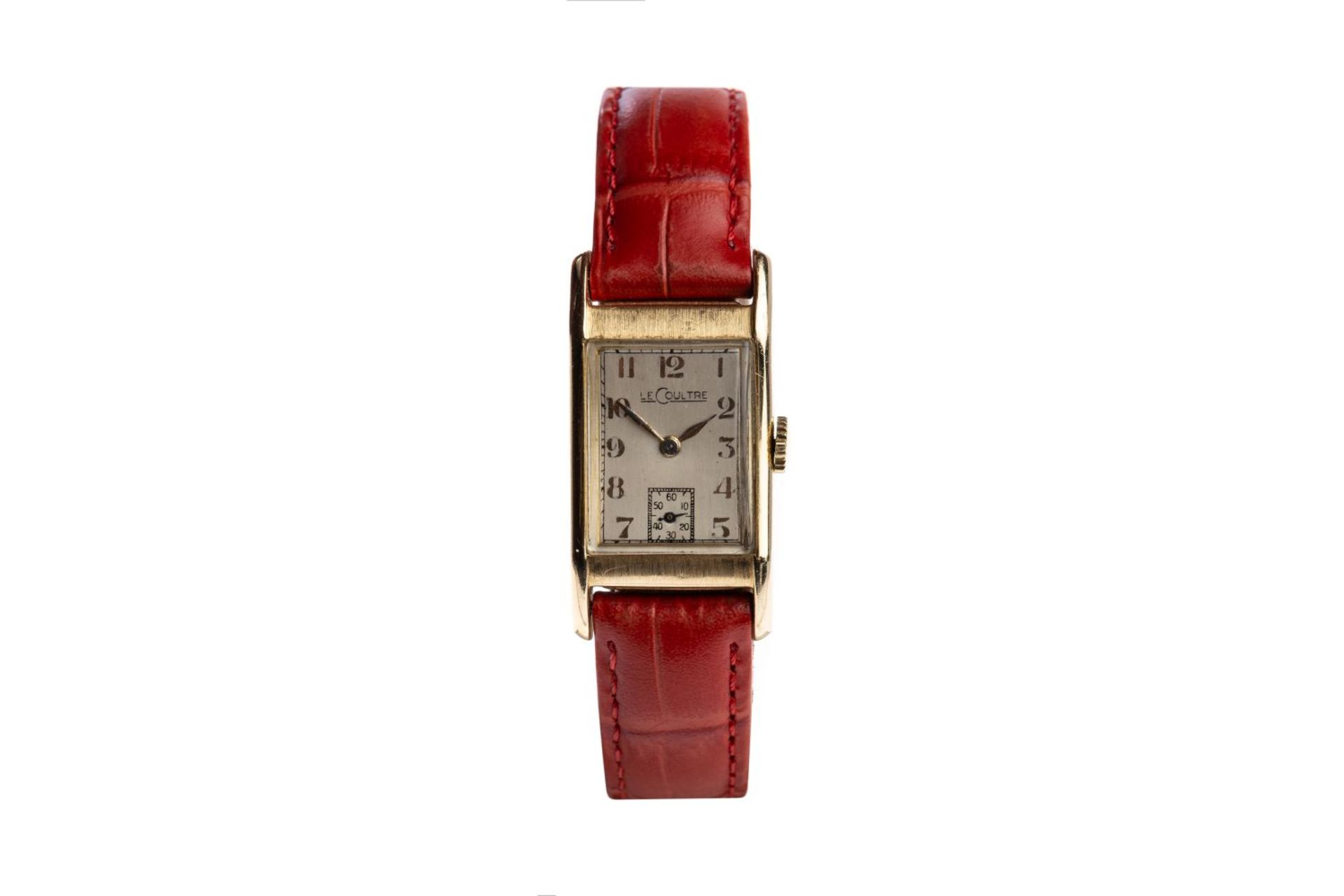 Los 85 - Le CoultreLe - Coultre wristwatch from the 1940sClassic square 14K gold case silver plated dial on