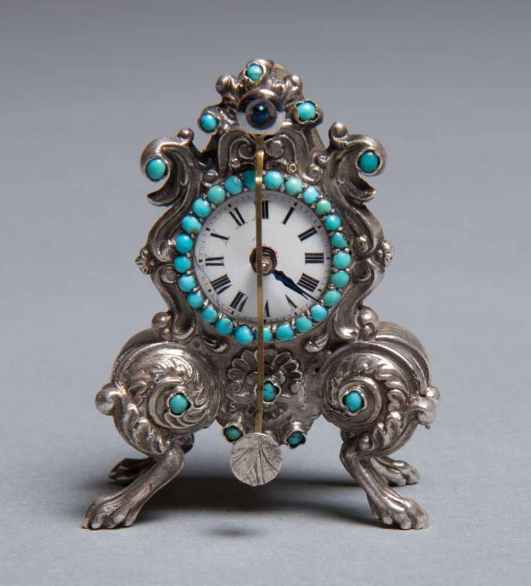 Los 66 - ZapplerFidget Clockaround 1870 H 5.5 x W 4 x D 2 cm hallmarked: 750 silver, Diana head, maker's mark
