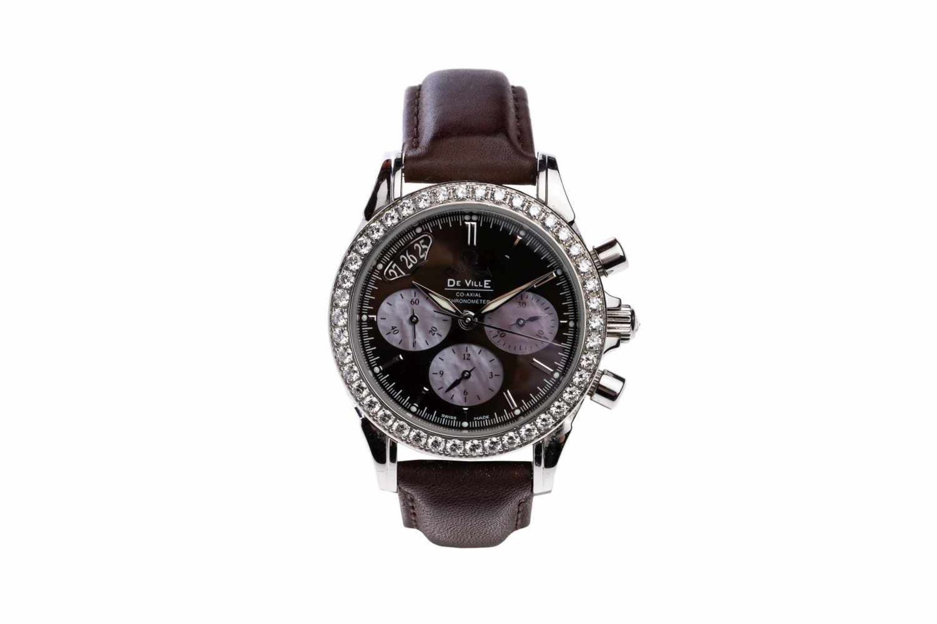 Los 27 - Omega De VillePre owned ladies watch with Diamond Bezel 1.61 carat, automatic movement case 35mm,
