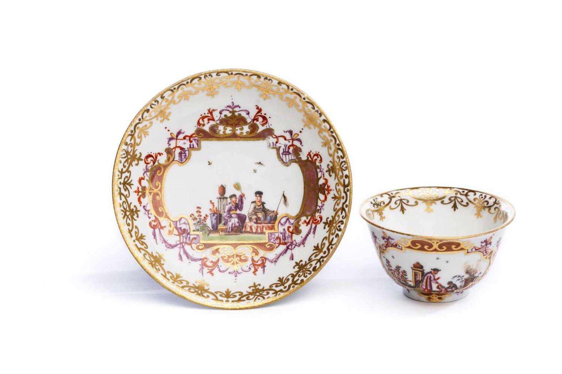 Koppchen mit Unterschale, Meissen 1730