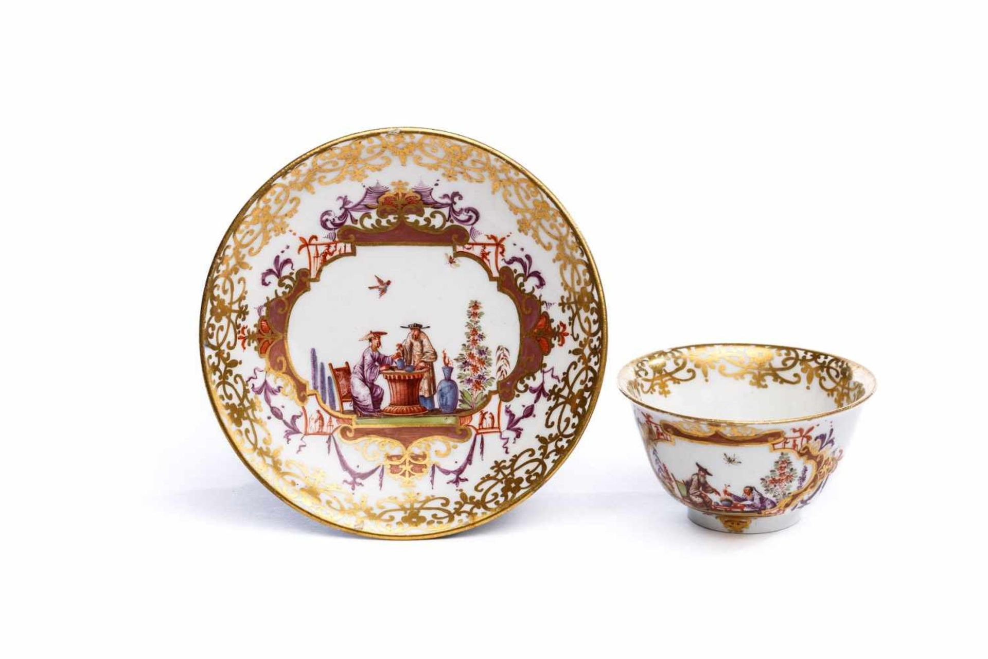 Koppchen mit Unterschale, Meissen 1725