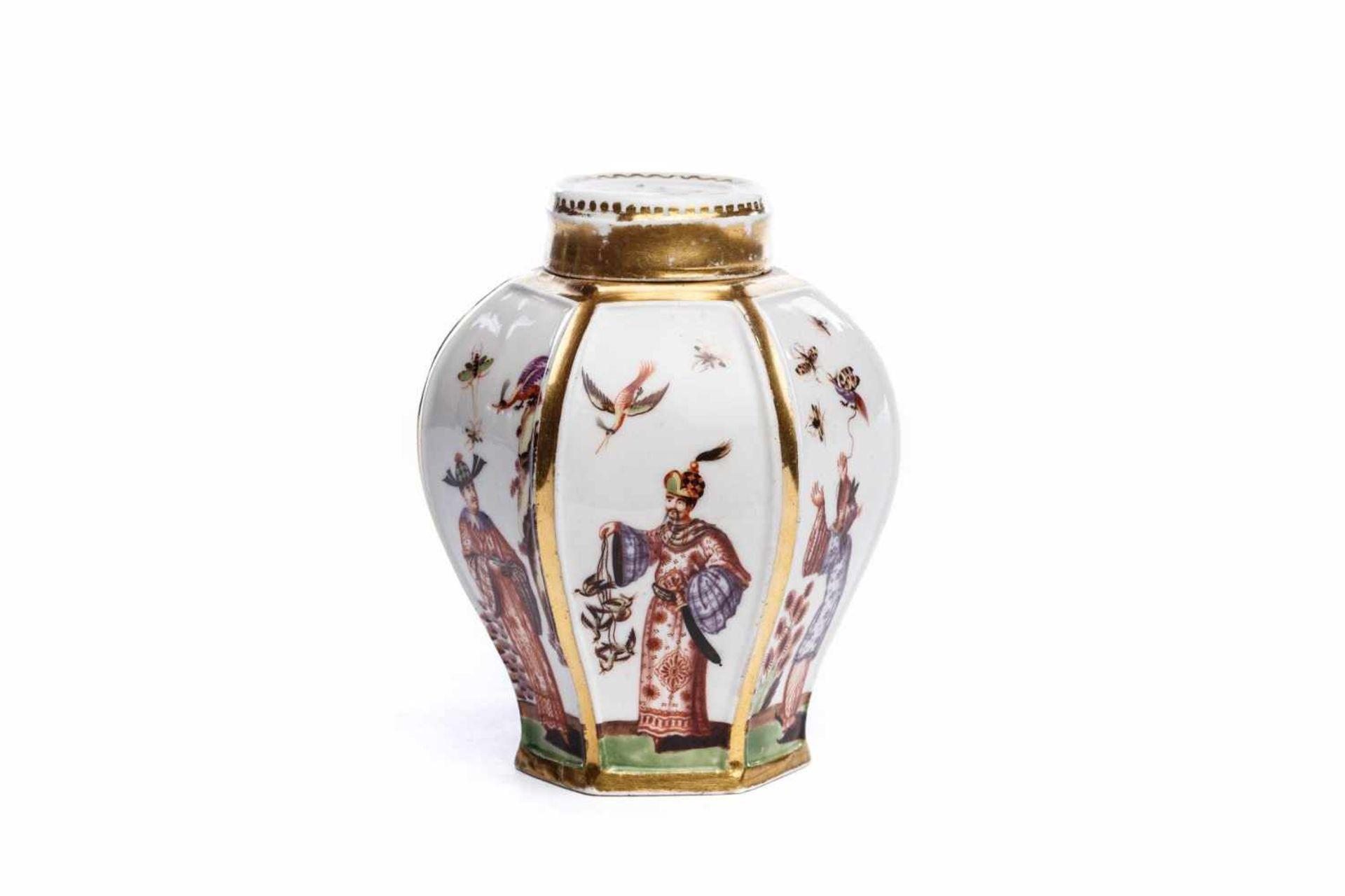 Teedose mit Chinoiserie Szenen, Meissen 1725/30