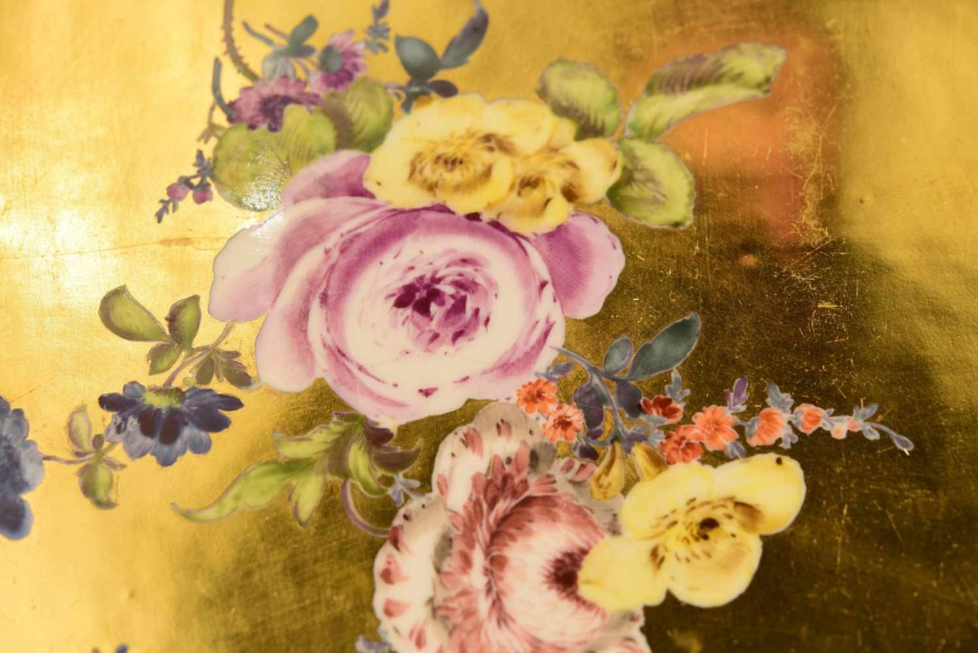 Platte Goldfond, Meissen 1740 - Bild 4 aus 5