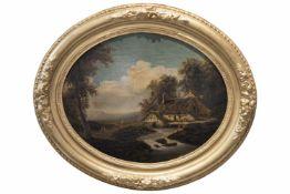 """Ovales Landschaftsbild""""Mühle am Fluss"""", Öl auf Holz, Provenienz: Aus dem Nachlass der Sammlung des"""