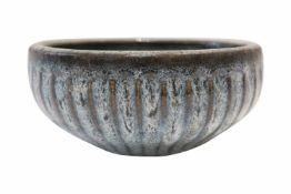 Schüssel KeramikKeramik Schüssel mit schöner Maserung, farbig staffiert, türkis mit braunen