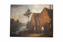 """Künstler in der Art der Holländer des 17. Jahrhundert"""" Vor der Schenke"""", Öl auf Holz, entstanden"""