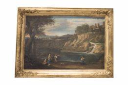 "FlusslandschaftMaler des 18. Jahrhundert, ""Reges Treiben am Fluss"", Öl auf Leinwand. Provenienz: Aus"