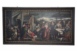 Barock Maler Öl auf Leinwand, wohl 18.Jahrhundert. Das mehrfigurige Gemälde zeigt zwei