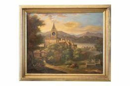 """Bilderuhr mit Spielwerk """"Blick auf eine Dorfszene mit Kirche"""", Öl auf Leinwand. Innenliegendes"""