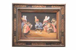 """Abram Teniers (1629-1670) """"Kartenspielende Affen""""Abram Tenieres (1629-1670) """" Kartenspielende"""