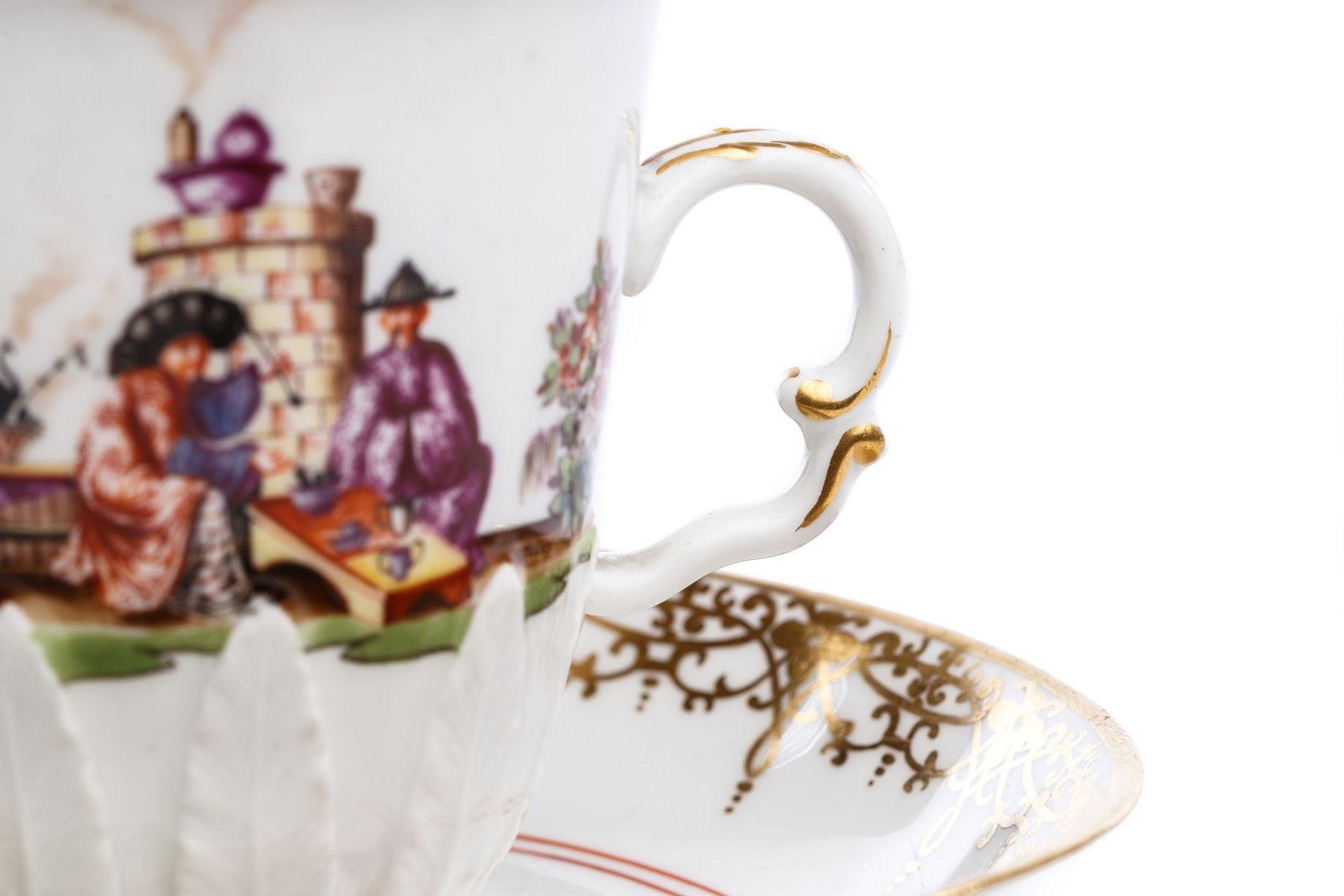 Henkelbecher mit Unterschale, Meissen 1730/35 - Bild 5 aus 6