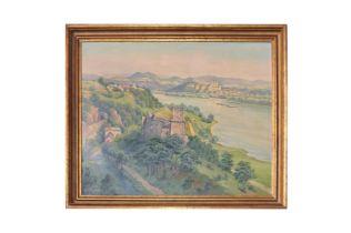 """Adolf Wiesler (1878-1958) """"Blick Ruine Welteneg nach Melk Donau"""""""