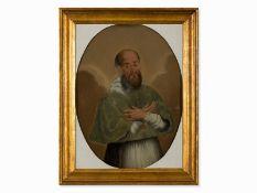 """""""Porträt eines Kirchenvaters"""" Hinterglasmalerei, Spanien,18. Jh."""