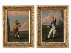 "Englische Schule, ""Tennispartie"" Gemäldepaar, Spätes 18. Jh."