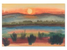 "Rudolf Petrik (1922-1991), ""Sonnenuntergang Alte Donau"" ca. 1950"