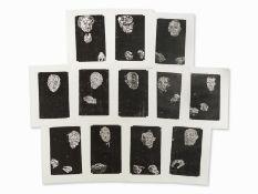"""Matthias Mansen (geb. 1958) , Symposion (""""Hahnemühle Alt Worms"""" ), 12 Holzschnitte, 1999"""