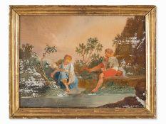 """""""Kinder am Fluss"""" Hinterglasmalerei, Französisch, 18. Jh."""