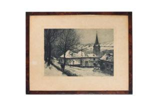 """Richard Moser 1874-1924 """"Winterliche Dorfstrasse"""""""