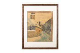 """Ferdinand Zach, """"Winterliche Hausansicht mit Kirche im Hintergrund"""""""