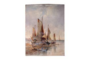"""Adolf Kaufmann (1848-1916) """"Segelschiffe im Hafen"""""""