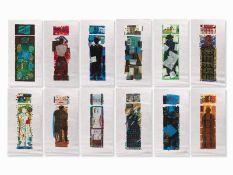 Ruth Tesmar(* 8. April 1951 in Potsdam) , Symposion, 12 Farbholzschnitte, 1999/2000